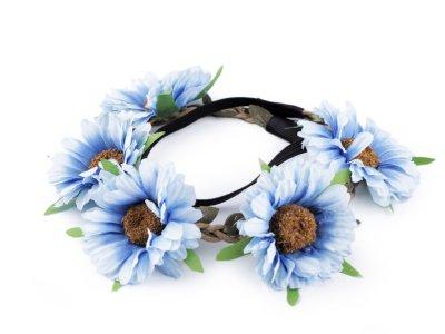Blumenkranz Kopfschmuck - Elastisches Haarband ca. 50 cm mit Blumen/Blüten - helles blau