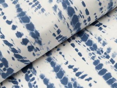 Jersey - Batik-Optik - weiß/blau