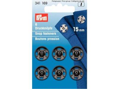 Prym 6 runde Annäh-Druckknöpfe 15mm - schwarz
