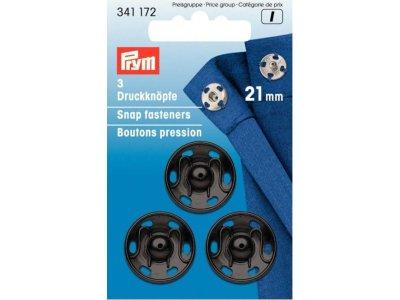 Prym 3 Annäh-Druckknöpfe MS 21 mm - schwarz