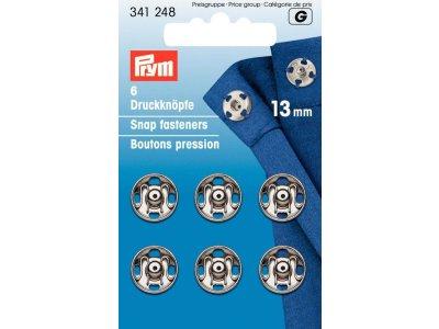 Prym 6 runde Annäh-Druckknöpfe 13mm - silberfarben