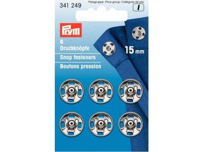 Prym 6 runde Annäh-Druckknöpfe 15mm -silberfarben