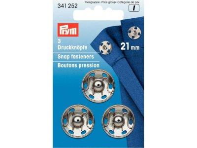 Prym 3 Annäh-Druckknöpfe MS 21 mm - silberfarben