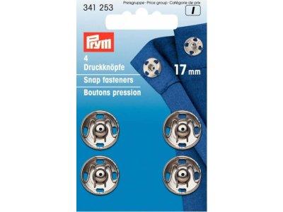 Prym 4 Annäh-Druckknöpfe MS 17 mm - silberfarben