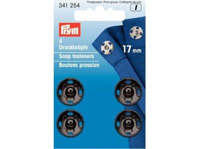 Prym 4 runde Annäh-Druckknöpfe MS 17 mm - schwarz