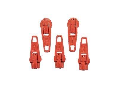 Slider / Zipper / Automatikschieber für Reißverschlüsse Größe 3 - Set 5 Stück rotorange