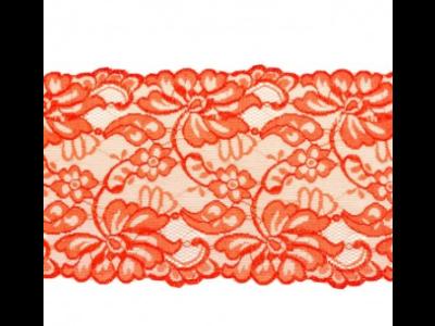 Elastische Spitze extrabreit ca. 14,5 cm - Blumenranken - rot
