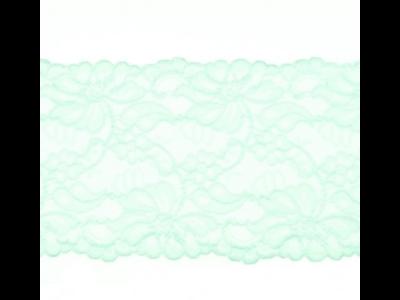 Elastische Spitze extrabreit ca. 14,5 cm - Blumenranken - mint