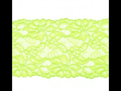 Elastische Spitze extrabreit ca. 14,5 cm - Blumenranken - grün