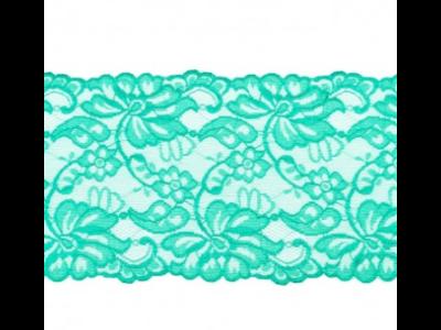 Elastische Spitze extrabreit ca. 14,5 cm - Blumenranken - dunkles grün