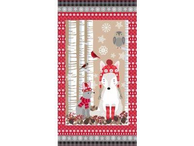Gewebter Baumwollstoff Swafing Snow Delightful - Patchwork PANEL ca. 60 x 110 cm  - Eisfuchs, Häschen und Eule - beige/rot
