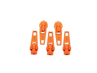 Slider / Zipper / Automatikschieber für Reißverschlüsse Größe 3 - Set 5 Stück orange