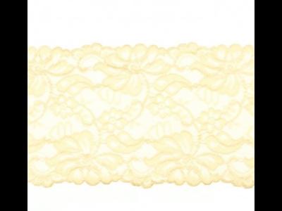 Elastische Spitze extrabreit ca. 14,5 cm - Blumenranken - helles beige