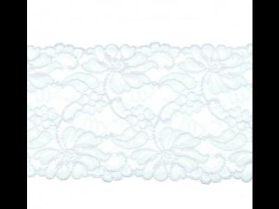 Elastische Spitze extrabreit ca. 14,5 cm - Blumenranken - helles grau