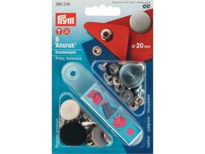 Prym 6 NF-Druckknopf Anorak flach MS 20 mm - silberfarben