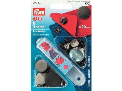 Prym 6 NF-Druckknopf Anorak flach MS 20 mm - anthrazit