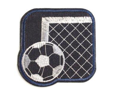 Aufbügler  Jeansoptik ca. 8 x 8 cm - Fußballtor mit  Fußball - schwarz/blau