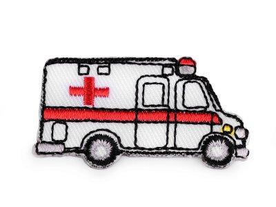 Aufbügler ca. 5 x 2 cm - Krankenwagen - weiß