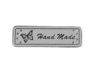 Kunstleder Aufnäher ca. 15 x 50 mm - Hand Made mit Schmetterling - grau