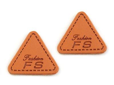 Kunstleder Aufnäher ca. 23 x 25 mm 2 Stück - FS-Fashion - braun