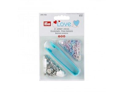 Jersey Druckknöpfe Prym Love 21 Stück/8mm gemischt - pastellblau,pastellrosa,pastellgelb