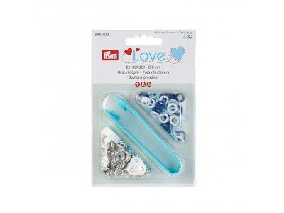 Jersey Druckknöpfe Prym Love 21 Stück/8mm gemischt - dunkles blau,weiß,blau