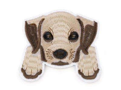 Aufbügler gestickt 8 x 8,7 cm - Hund - braun