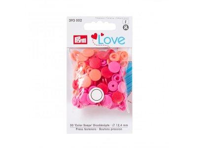 Color Snaps Druckknöpfe Prym Love 30 Stück/12,4mm gemischt - rot,apricot, pink