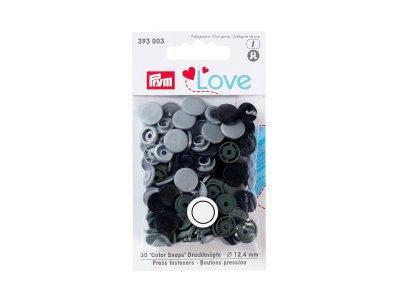 Color Snaps Druckknöpfe Prym Love 30 Stück/12,4mm gemischt - schwarz,olive,grau