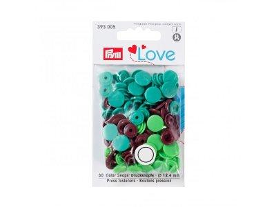 Color Snaps Druckknöpfe Prym Love 30 Stück/12,4mm gemischt - grün,bordeaux,helles grün
