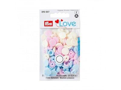 Color Snaps Druckknöpfe Prym Love 30 Stück/12,4mm gemischt - pastellblau,pastellrosa,altweiß