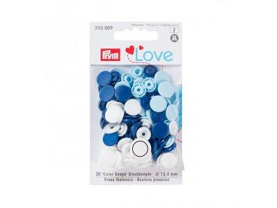 Color Snaps Druckknöpfe Prym Love 30 Stück/12,4mm gemischt - dunkles blau,blau,weiß