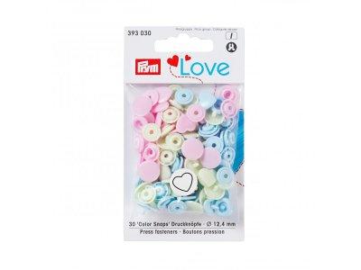 Color Snaps Druckknöpfe Prym Love 30 Stück/12,4mm gemischt - Herzen - pastellblau,pastellrosa,pastellmint