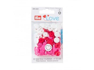Color Snaps Druckknöpfe Prym Love 30 Stück/12,4mm gemischt - Herzen - rosa,rot,weiß