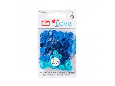 Color Snaps Druckknöpfe Prym Love 30 Stück/12,4mm gemischt - Sterne - dunkles blau,türkis,blau