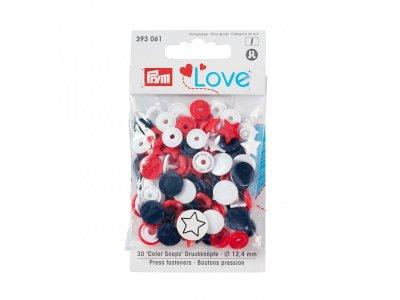 Color Snaps Druckknöpfe Prym Love 30 Stück/12,4mm gemischt - Sterne - blau,rot,weiß