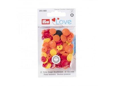 Color Snaps Druckknöpfe Prym Love 21 Stück/13,6mm gemischt - Blumengesichter - orange,rot,gelb