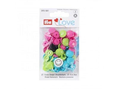 Color Snaps Druckknöpfe Prym Love 21 Stück/13,6mm gemischt - Blumengesichter - türkis,grün,pink