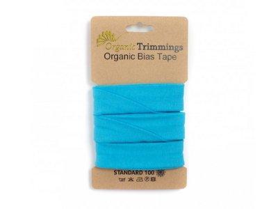 Jersey Organic Cotton Schrägband/Einfassband gefalzt 20 mm Breit x 3 Meter Coupon - uni türkis