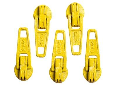 Slider / Zipper / Automatikschieber für Reißverschlüsse Größe 3 - Set 5 Stück honiggelb