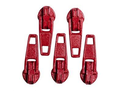 Slider / Zipper / Automatikschieber für Reißverschlüsse Größe 3 - Set 5 Stück kaminrot