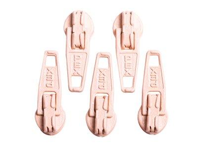 Slider / Zipper / Automatikschieber für Reißverschlüsse Größe 3 - Set 5 Stück hautfarben