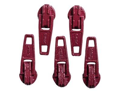 Slider / Zipper / Automatikschieber für Reißverschlüsse Größe 3 - Set 5 Stück mahagoni
