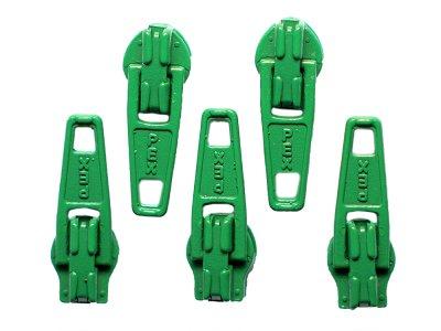Slider / Zipper / Automatikschieber für Reißverschlüsse Größe 3 - Set 5 Stück grasgrün
