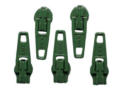 Slider / Zipper / Automatikschieber für Reißverschlüsse Größe 3 - Set 5 Stück dunkelgrün