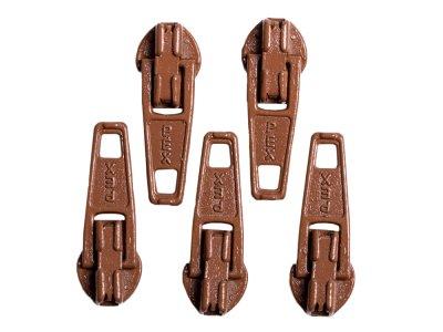 Slider / Zipper / Automatikschieber für Reißverschlüsse Größe 3 - Set 5 Stück schlamm