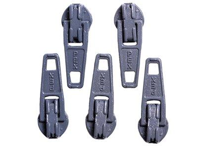 Slider / Zipper / Automatikschieber für Reißverschlüsse Größe 3 - Set 5 Stück eisengrau