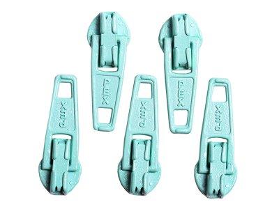 Slider / Zipper / Automatikschieber für Reißverschlüsse Größe 3 - Set 5 Stück cyan