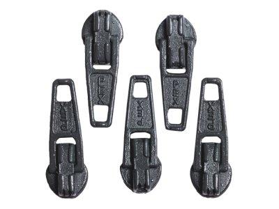 Slider / Zipper / Automatikschieber für Reißverschlüsse Größe 3 - Set 5 Stück rauchgrau