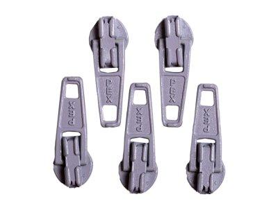 Slider / Zipper / Automatikschieber für Reißverschlüsse Größe 3 - Set 5 Stück mausgrau